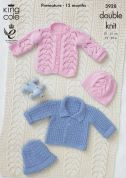 King Cole Baby Jackets, Hats & Blanket Cottonsoft Knitting Pattern 3928  DK