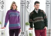 King Cole Ladies & Mens Sweaters Moods Knitting Pattern 3936  DK