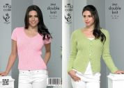 King Cole Ladies Cardigan & Top Smooth Knitting Pattern 3941  DK