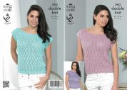 King Cole Ladies Tops Smooth Knitting Pattern 3942  DK