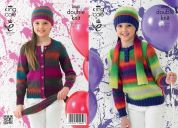 King Cole Girls Cardigan, Sweater, Hat & Scarf Riot Knitting Pattern 3945  DK