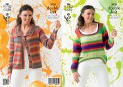 King Cole Ladies Cardigan & Sweater Riot Knitting Pattern 3950  DK