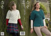 King Cole Ladies & Girls Jacket & Top Fashion Knitting Pattern 3955  Aran