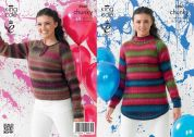 King Cole Ladies Sweaters Riot Knitting Pattern 3960  Chunky