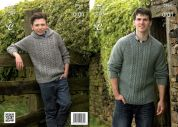 King Cole Mens & Boys Sweater & Hoodie Fashion Knitting Pattern 3964  Aran