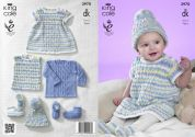 King Cole Baby Dress, Top, Sweater, Hat & Booties Comfort Prints Knitting Pattern 3970  DK