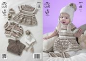 King Cole Baby Dress, Cardigans, Hat & Booties Comfort Prints Knitting Pattern 3971  DK