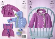 King Cole Baby Jackets, Cardigan, Top & Booties Comfort Knitting Pattern 3972  Aran