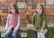 King Cole Girls Cardigan & Waistcoat Big Value Knitting Pattern 3976  Aran