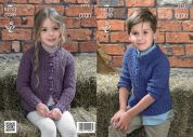King Cole Childrens Sweater & Cardigan Big Value Knitting Pattern 3978  Aran