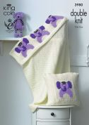 King Cole Home Picture Blanket & Cushion Comfort Knitting Pattern 3980  DK