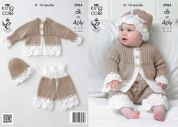 King Cole Baby Jacket, Pants & Hat Comfort Knitting Pattern 3984  DK, 4 Ply