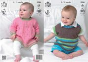King Cole Baby Angel Top & Pullover Comfort Knitting Pattern 3986  DK, 4 Ply