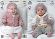 King Cole Baby Matinee Coat, Cardigan & Hats Bamboo Cotton Knitting Pattern 3988  4 Ply