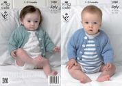 King Cole Baby Cardigan & Romper Suits Bamboo Cotton Knitting Pattern 3989  4 Ply