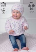 King Cole Baby Sweater, Slipover & Hat Cuddles Knitting Pattern 4001  DK