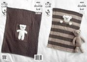 King Cole Baby Blankets & Teddy Bear Toy Comfort Knitting Pattern 4005  DK