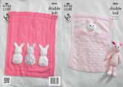 King Cole Baby Blankets & Bunny Toy Comfort Knitting Pattern 4006  DK