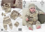 King Cole Baby Cardigan, Sweater, Pants, Hat & Mittens Cherish Knitting Pattern 4008  DK