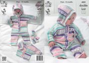 King Cole Baby All in One, Jacket & Socks Cherish Knitting Pattern 4009  DK