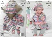 King Cole Baby Cardigan, Top, Pants, Hat & Mittens Cherish Knitting Pattern 4011  DK