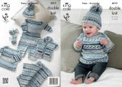 King Cole Baby All in One, Cardigan, Sweater, Blanket, Hat & Mittens Cherish Knitting Pattern 4012  DK