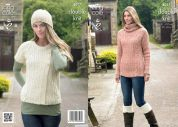 King Cole Ladies Sweater, Gilet, Hat, Snood & Boot Toppers Masham Knitting Pattern 4017  DK