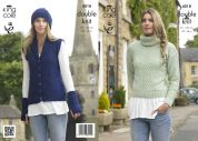 King Cole Ladies Sweater, Waistcoat, Hat & Wrist Warmers Masham Knitting Pattern 4018  DK
