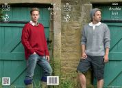 King Cole Mens Sweaters, Hat & Boot Toppers Masham Knitting Pattern 4020  DK