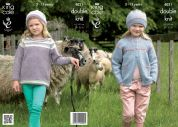 King Cole Girls Jacket, Top & Hats Masham Knitting Pattern 4021  DK