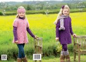 King Cole Girls Dress, Cardigan, Scarf & Headband Masham Knitting Pattern 4022  DK
