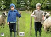 King Cole Boys Hoodie, Gilet, Hat & Wrist Warmers Masham Knitting Pattern 4024  DK