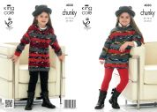 King Cole Girls Sweater Dresses Big Value Knitting Pattern 4030  Chunky