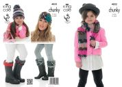 King Cole Ladies & Girls Scarf, Hat, Headband & Welly Toppers Big Value Knitting Pattern 4032  Chunky
