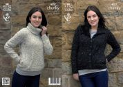 King Cole Ladies Jacket & Sweater Knitting Pattern 4037  Chunky