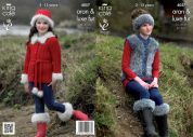 King Cole Girls Jacket, Gilet, Boot Toppers, Hat & Headband Merino Blend Knitting Pattern 4057  Aran