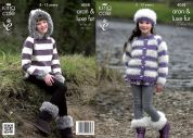 King Cole Girls Jacket, Sweater, Hat & Boot Toppers Merino Blend Knitting Pattern 4058  Aran