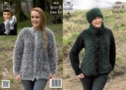 King Cole Ladies Jackets, Mittens & Headband Merino Blend Knitting Pattern 4059  Aran