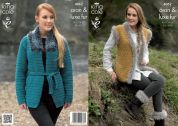 King Cole Ladies Jacket, Gilet & Boot Toppers Merino Blend Knitting Pattern 4062  Aran