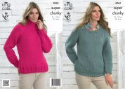 King Cole Ladies Sweaters Big Value Knitting Pattern 4063  Super Chunky
