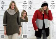 King Cole Ladies Jacket, Dress & Cowl Collar Big Value Knitting Pattern 4066  Super Chunky