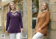 King Cole Ladies Sweater & Cardigan Merino Knitting Pattern 4076  DK