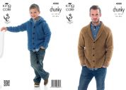 King Cole Mens & Boys Cardigan & Hoodie Big Value Knitting Pattern 4088  Chunky