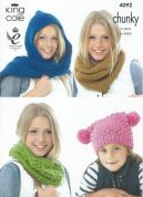 King Cole Snoods, Scarves, Hat & Shawl Big Value Knitting Pattern 4092  Chunky