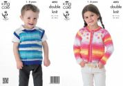 King Cole Childrens Cardigan & Pullover Flash Knitting Pattern 4093  DK
