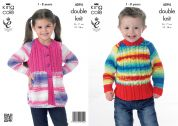 King Cole Childrens Jacket & Sweater Flash Knitting Pattern 4094  DK