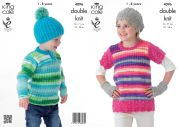 King Cole Childrens Tunic, Sweater, Hats & Hand Warmers Flash Knitting Pattern 4096  DK