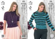King Cole Ladies Sweaters Galaxy Knitting Pattern 4109  DK