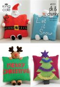 King Cole Christmas Novelty Cushions Big Value Knitting Pattern 4111  DK, Chunky
