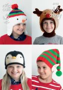 King Cole Childrens Christmas Novelty Hats Big Value Knitting Pattern 4113  DK, Chunky